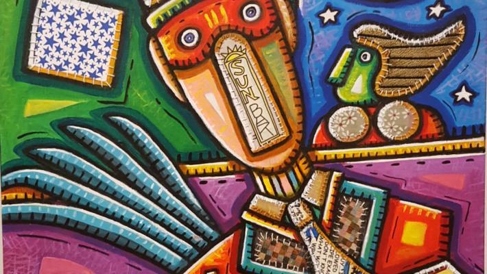 Obra en portada Final de la fiesta, collage sobre acrílico, 100 x 70 cm.