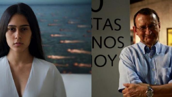La artista Alejandra Glez y el coleccionista español Luciano Méndez.