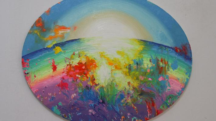 Ascención y Renacimiento-fluorescent oil on canvas, 40.6 cm-50.8cm, 2018