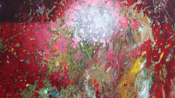 El fuego sagrado-oil fluorescent  on canvas 40 x 50 cm, 2018