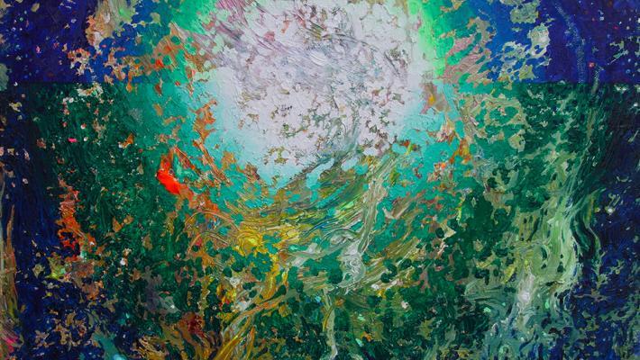El mensaje Invisible-fluorescent oil on canvas, 40 x 50 cm, 2018