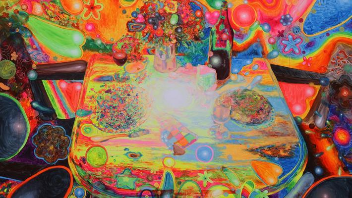 La eterna ceremonia, 150cm-200cm, acrílico fluorescente y fosforescente-lienzo, 2015