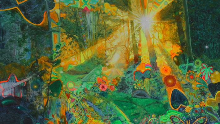 La hora del misterio, 150cm-200cm, acrílico fluorescente-lienzo, 2016