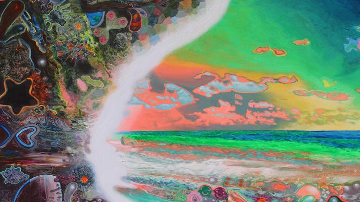La raja entre los mundos, 150cmx200cm, acrílico fluorescente-lienzo, 2015