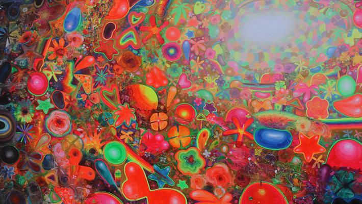 Love Journey, 200cm-300cm, acrílico fluorescente-lienzo, 2017