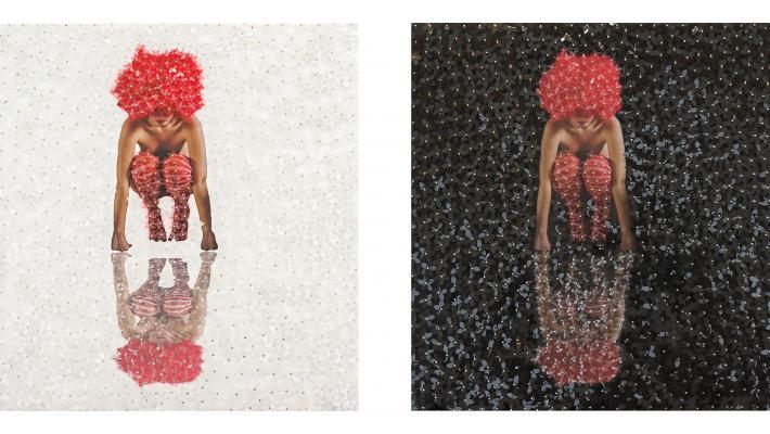 Mabel Poblet,´Deconstruida´, 2019, 50 x 50 cm cu, fotografía sobre pvc, flores cortadas en acetato díptico.
