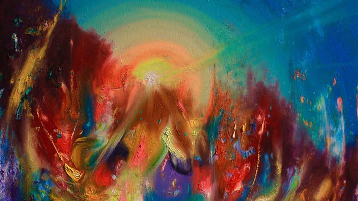 Reborn Flame, fluorescent oil on canvas, 40cm-50cm, 2020