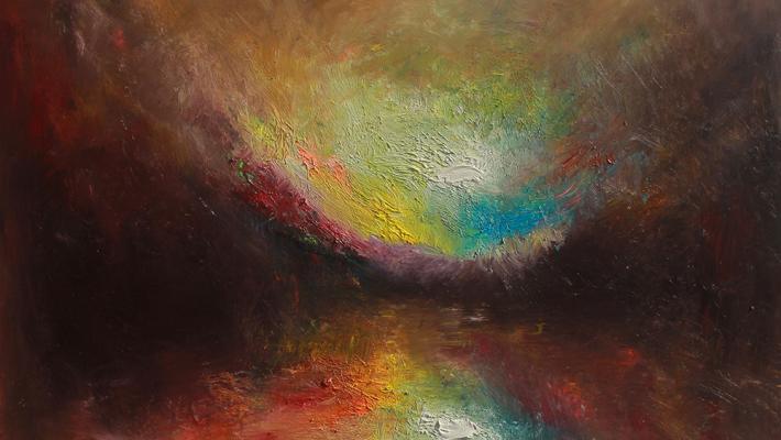 Start Over, fluorescent oil on canvas, 50cm-60cm, 2020