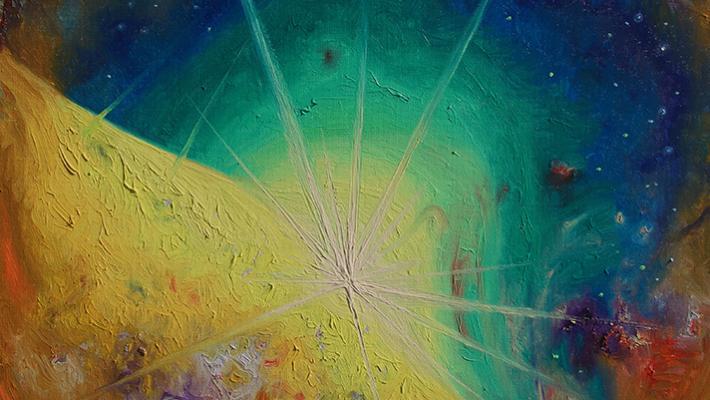 The Outcome, fluorescent oil on canvas, 70cm-50cm, 2020